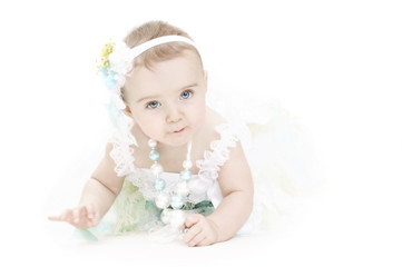 baby in vintage dress