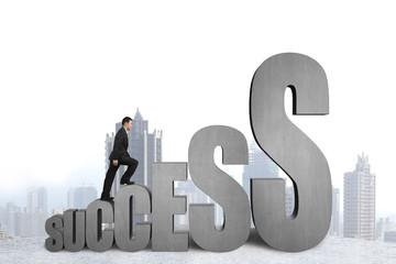 Businessman climbing on growing success 3D word