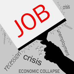 job in recession icon vector