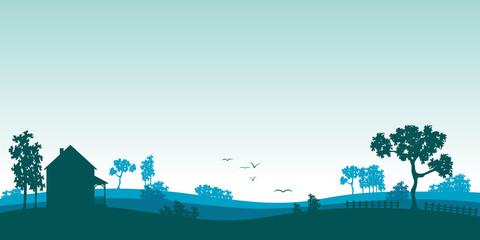 Blaue Landschaft im Sommer