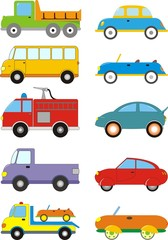 Cartoon Cars. Vector set.
