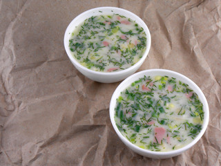 russian cold vegetable soup on yogurt (sour-milk) base