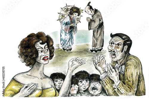 Family quarrel comic illustration