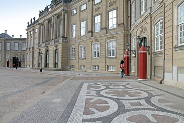 Duty change of royal guards  Amalienborg Palace, Copenhagen