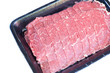 Sliced beef shank in foam tray