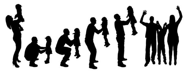 vector silhouette family