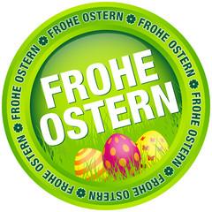 """Button """"Frohe Ostern"""" Ostereier grün"""