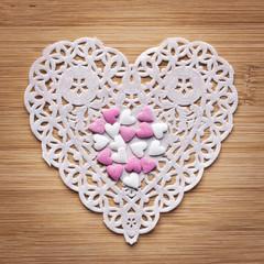Napperon et sucres forme coeur