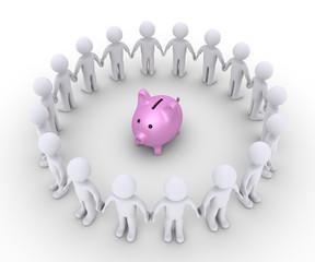 Pig money box and people around it