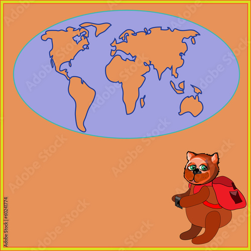 Cute bear with a backpack and photocamera in cartoon stile