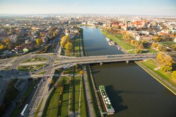 Bird's-eye view of the Vistula River in Krakow, Poland.
