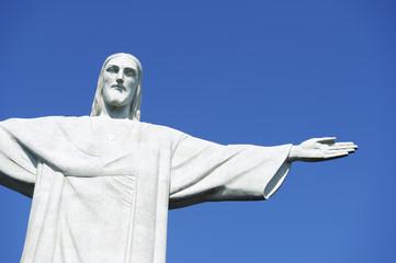 Corcovado Christ the Redeemer Blue Sky Horizontal Close-Up