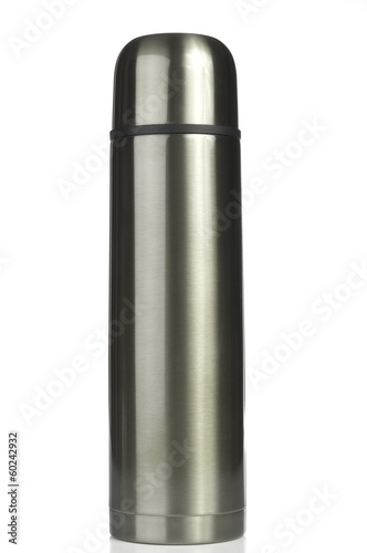 Thermos on white background