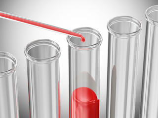 Pipette puts blood samples into a glass tube