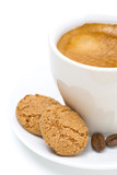 biscotti and cup of espresso, selective focus, isolated