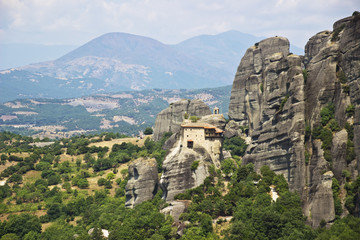 Meteora rocks with monastery, landscape