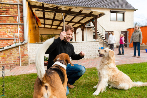 Young man playing with his dogs in garden