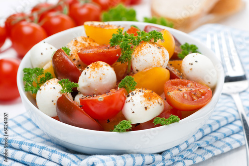 salad with mozzarella, fresh herbs and colorful cherry tomatoes