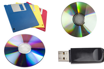 USB ,dvd,cd,floppy disk close up on white background