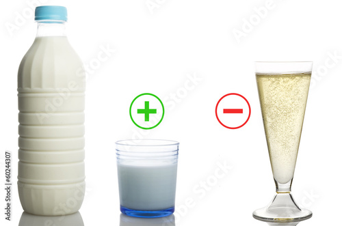 alcohol drink and milk bottle concept no drunk