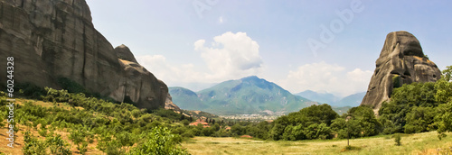 Panoramic view of Meteora rocks