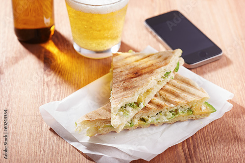 Feta cheese and avocado sandwich