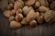 Nuts mix close up on the wood table