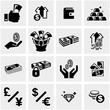 Money vector icons set on gray