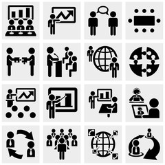 Businessman vector icons set on gray.