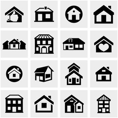 Houses and buildings icons set. Real estate.