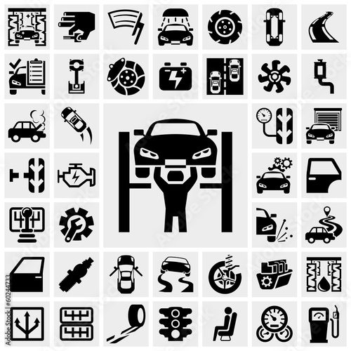 auto vector icons set on gray