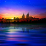 abstract background with silhouette of cologne and sunset