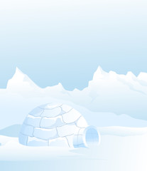 Igloo & winter landscape - vector