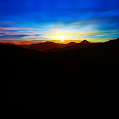 abstract background with mountains and sunset