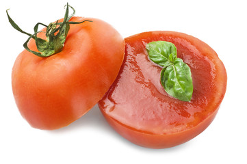 half tomato with tomato sauce on white