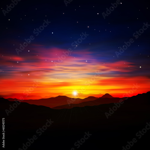 abstract nature background with red sunrise