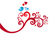 love birds with heart swirl, vector