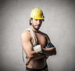 Shirtless Worker