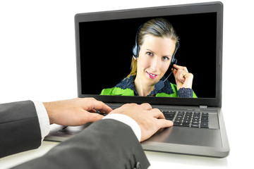 Woman in a call centre taking a customer query