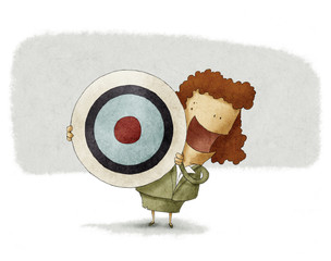 Business woman with target.
