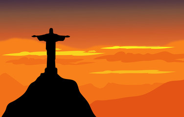 Christ The Redeemer & Sunset Landscape - Vector