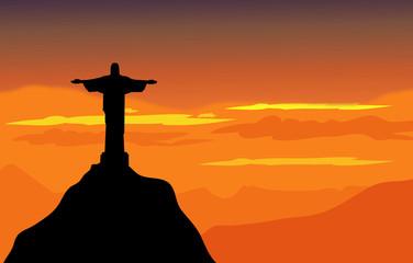 Christ The Redeemer & Sunset Landscape - Vector