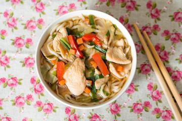 Bowls of Asian soup noodles