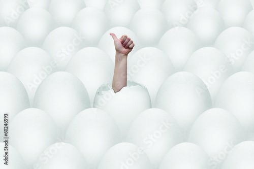 eggs and success gesture