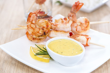 Portion of Prawns with Curry Sauce