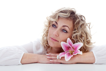 Woman portrait with lily flower
