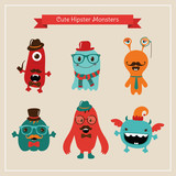 Vector Freaky Cute Retro Hipster Monsters, Funny Illustration.