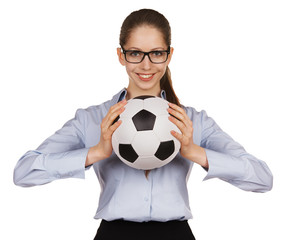 Beautiful girl with soccer Ball