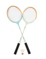 Vintage badminton racket and shuttlecock.
