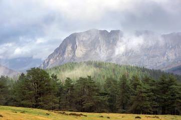 Urkiola mountain range with mist